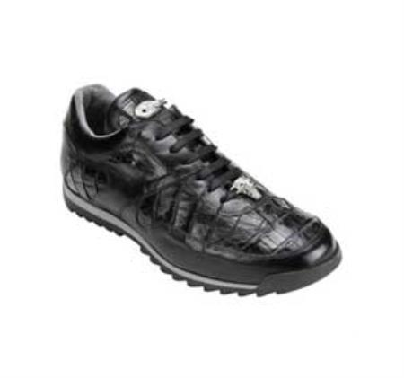SKU#RV7349 Belvedere Men's Black Genuine Caiman & Calf Sneakers $279
