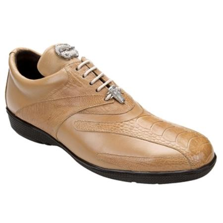 SKUHA6388 Belvedere Men's Taupe Genuine Ostrich & Soft Calf Sneakers $129