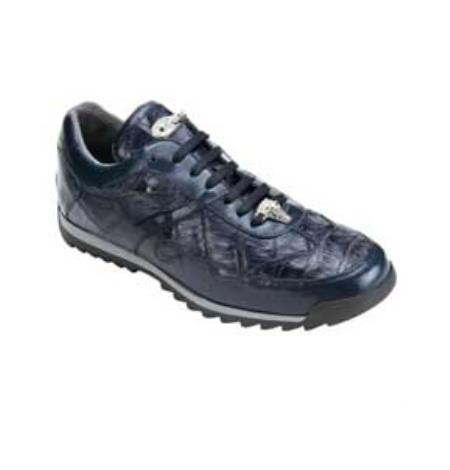 SKU#GB6285 Belvedere Men's Navy Genuine Caiman & Calf Sneakers $279