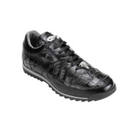 SKU#FH5940 Belvedere Men's Black Genuine Crocodile & Lizard Sneakers $305