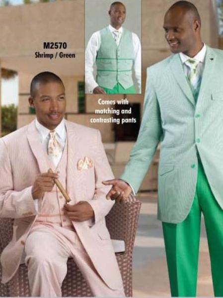 SKU#HK6380 Mens Seersucker Suit Available in White, Tan, Green, Lavender, Blue & Shrimp $175
