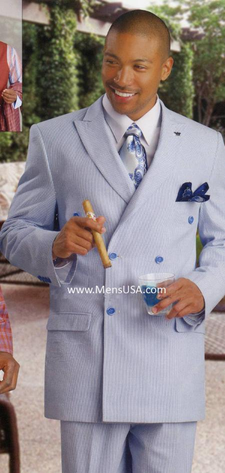 SKU#HJ7833 Men's Fashion Seersucker Suit Blue