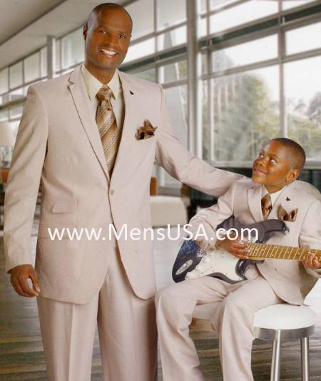 SKU#GL7035 Mens Fashion Seersucker Suit Tan ~ Beige $125