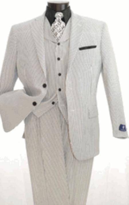 1900s Edwardian Men's Suits and Coats Mens 3 Piece Seersuckers Suit $139.00 AT vintagedancer.com