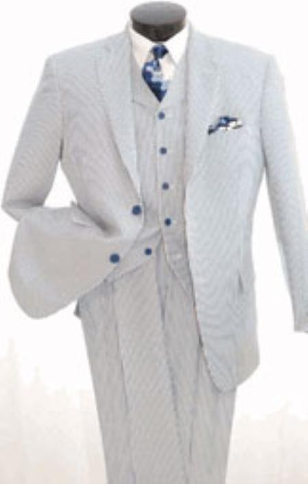 Men's Vintage Style Suits, Classic Suits Mens 3piece Seersuckers Suit $165.00 AT vintagedancer.com
