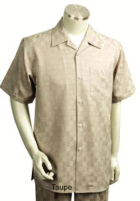 1930s Style Mens Shirts Mens Short Sleeve 2piece Walking Suit $89.00 AT vintagedancer.com