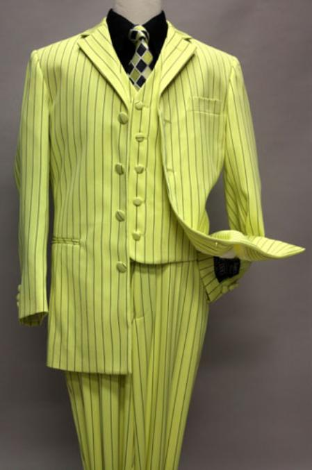 SKU#KA5478 Yellow Boys Zoot Suit With Black Pinstripe With Vest And Pants Covered Button Jacket  $139