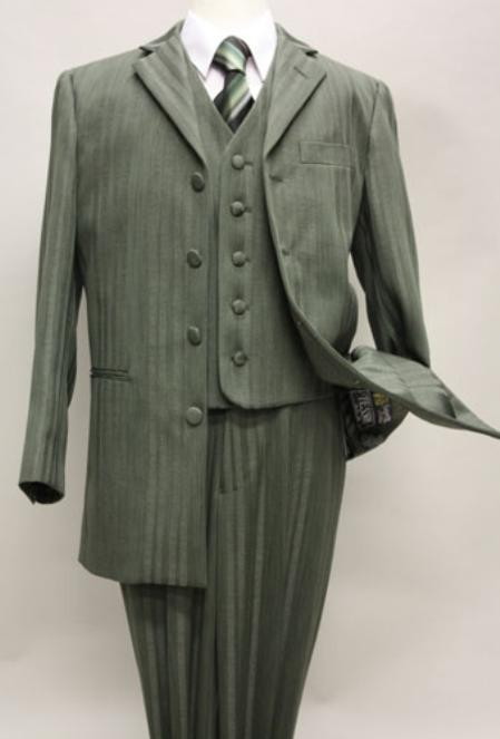 SKU#8790 Olive Boys Zoot Suit With Tone On Tone Stripe With Vest And Pants Covered Button Jacket  $139