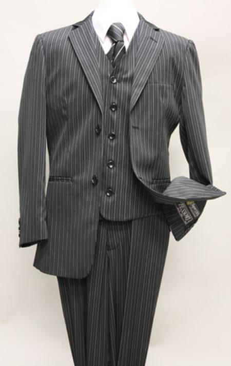 SKU#KA6754 Boys 2 Button Black Three Piece Pinstripe With Vest And Pants Hand Made $139