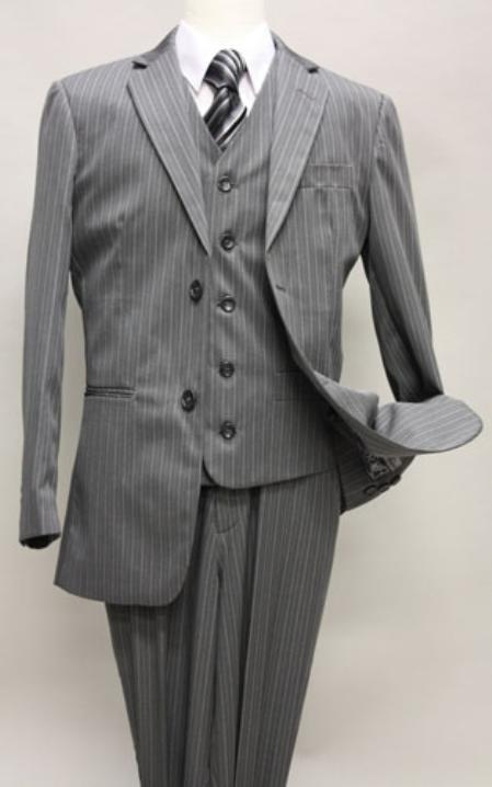 SKU#KA6547 Boys 2 Button Charcoal Three Piece Pinstripe With Vest And Pants Hand Made $139