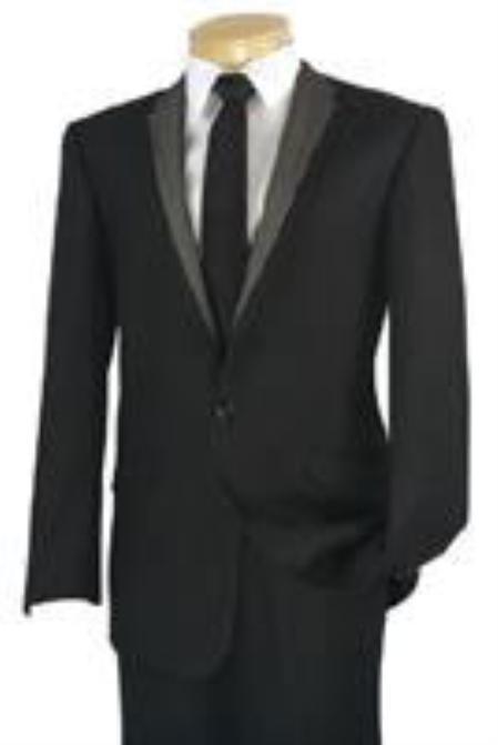 SKU#KA4435 Mens Suit 1 Button Slim Fit Suit Black