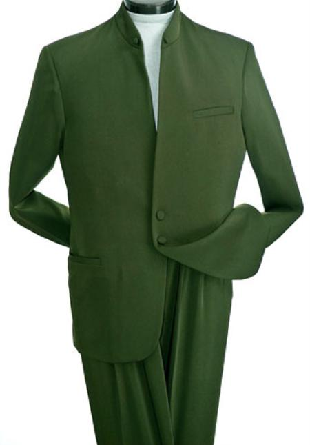 SKU#KA4457 Two Button Mandarin Collar Suit Micro fiber Gabardine $249