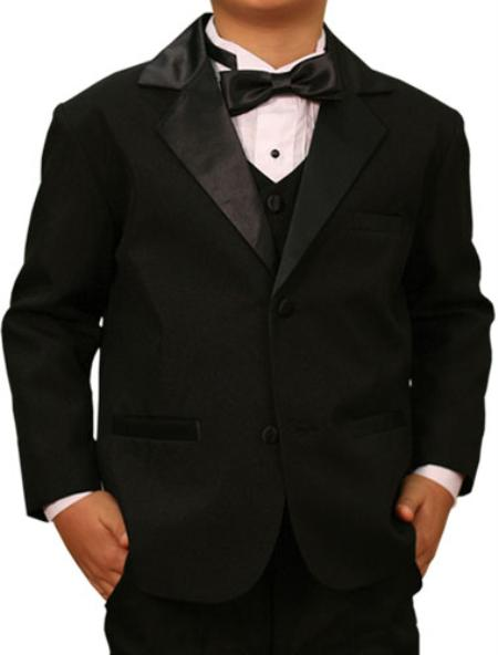 SKU#KA 7770 High Quality Solid Black Tuxedo Formal Boys Suits