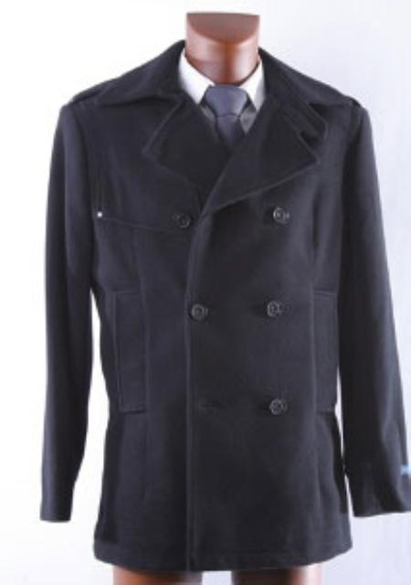 SKU#KA 9901 Men's Double Breasted Winter Peacoat Black Wool Winter Coat