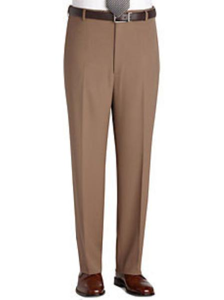 SKU#KA 8000 Taupe Flat Front Regular Rise Slacks