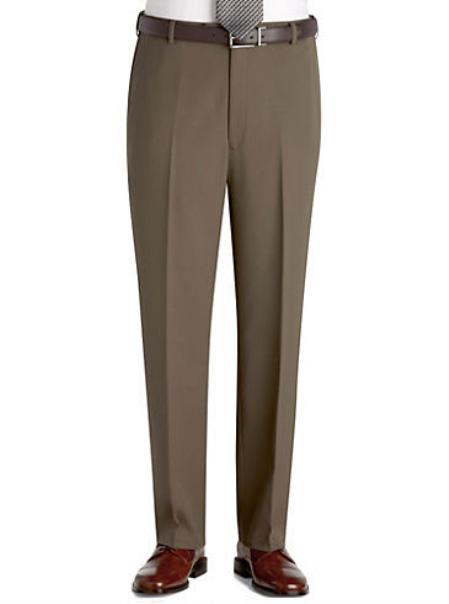 SKU#KA 0987 Olive Flat Front Regular Rise Slacks $69