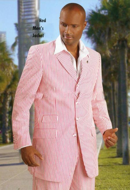 SKU#KA9908 Seersucker Red Blazer jacket only $199