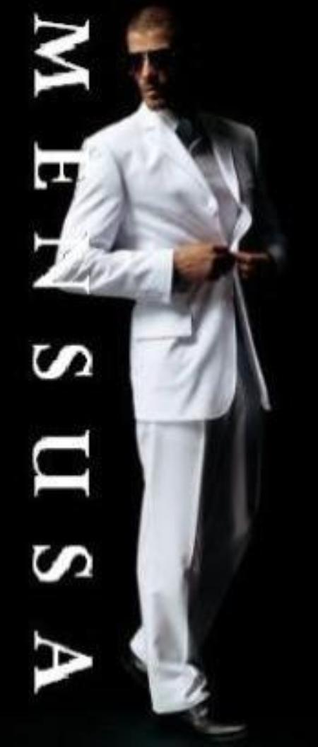 SKU# SLK1 100% Polyster Mens White Suit 100% Polyster Light Weight Feels Super Soft non back vent coat style coat