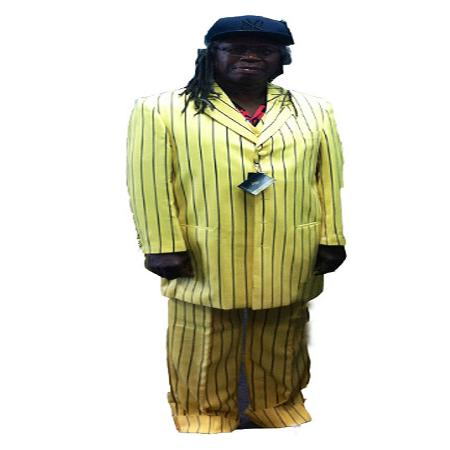 SKU#KA8976 Mens Bold Pronounce Long Unique Yellow with Black Pinstripe Suit $175