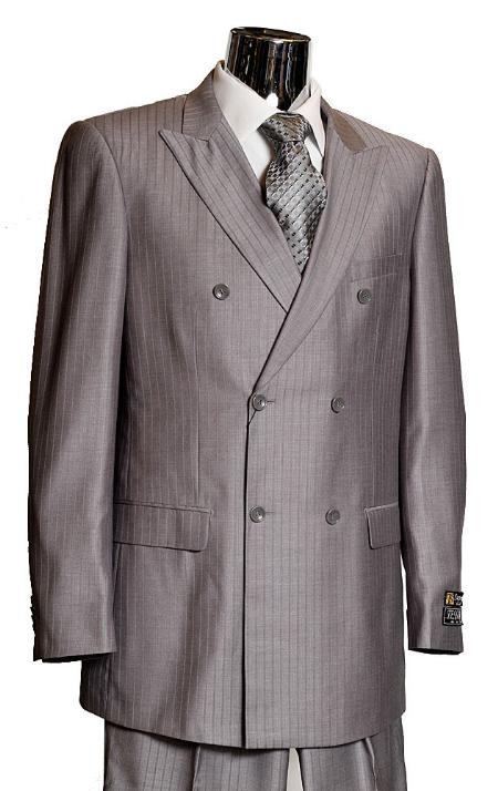 MensUSA Mens Grey Double Breasted Suit this is a ton on ton shadow pinstripe at Sears.com