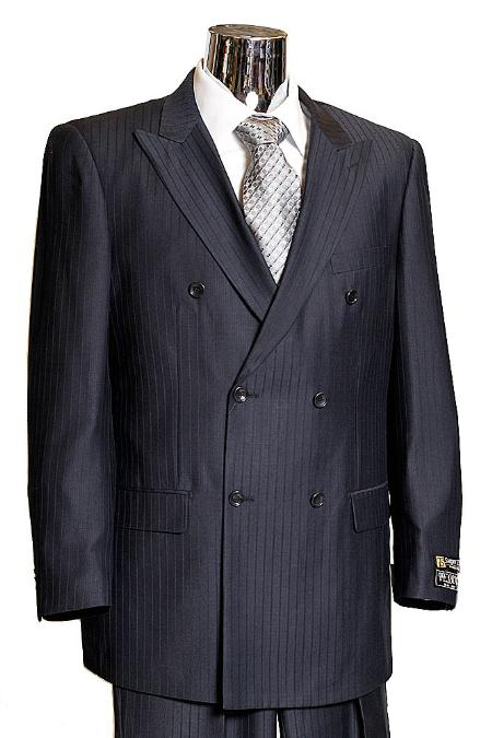 1930s Men's Suits History Mens Navy Double Breasted Suit this is a ton on ton shadow pinstripe185 $185.00 AT vintagedancer.com