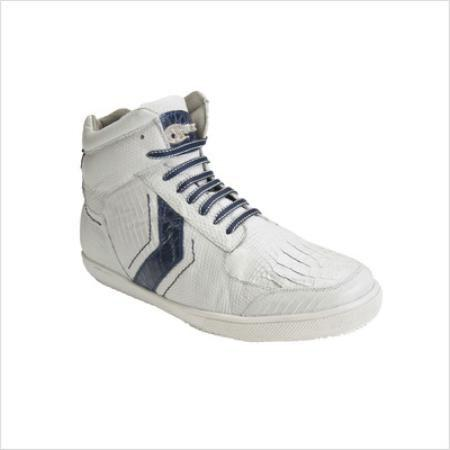 SKU#KA5498 Belvedere Mens Guido Sneaker in White / Navy $269