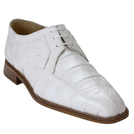 SKU#KA6399 Belvedere Men's White Genuine Crocodile $455