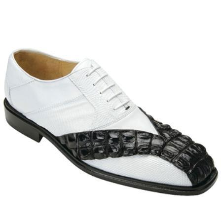 SKU#KA6546 Mens Belvedere Black/White Genuine Hornback & Lizard $329