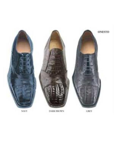 Belvederi Onesto Genuine Crocodile and Ostrich * Squared-toe in a oxford classic lace tie