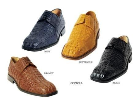 Belvedere Navy Crocodile Coppola Lace-up Dress Shoe $950