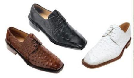 Belvedere Fabio Oxford exotic texture of the ostrich quill upper