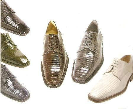 Belevedere Mens Olivo Oxford in Many Colors beautifully patterned lizard upper $300