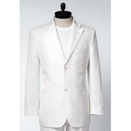 SKU#HW6730 Mens White Shadow Stripe 3 Button 2 button shown Irish Linen Suit $250