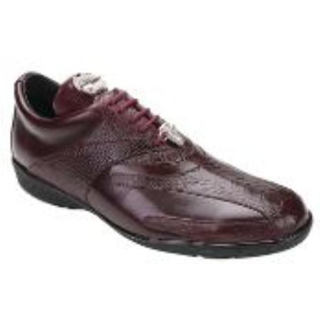 SKU#KA9700 Belvedere Men's Burgundy Genuine Ostrich & Soft Calf $129