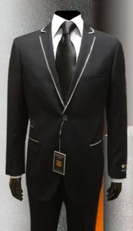 SKU#JK9340 Mens Tuxedo Black Gianni Uomo with Silver Framed Lapel $199