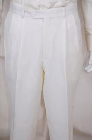 New Vintage Tuxedos, Tailcoats, Morning Suits, Dinner Jackets Mens Dress Pants Solid White 2 Pleated Wool Suit 40 $40.00 AT vintagedancer.com