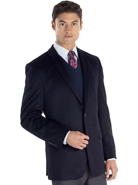 SKU#2BV-J40912C Mens 2 Button Side Vented Cashmere Sport Coat Navy
