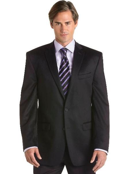 SKU#2BV-J40912C Mens 2 Button Black Cashmere Slim Fit Sport Coat Black $175