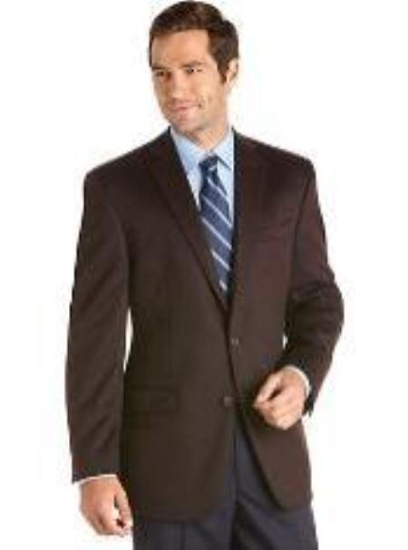 SKU#EG8759 Mens 2 Button Brown Cashmere Slim Fit Sport Coat $139