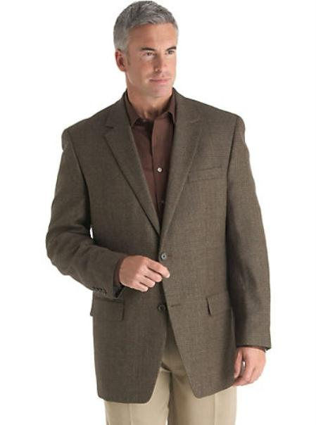SKU#NH7299 Mens 2 Button Brown Check Sport Coat $175