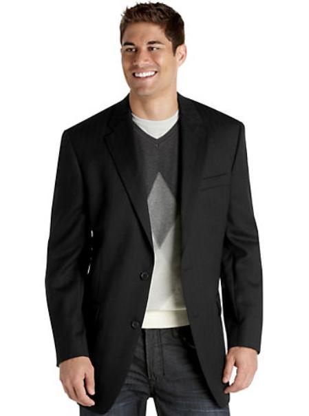 SKU#HR6492 Mens 2 Button Black Herringbone Tweed Sport Coat