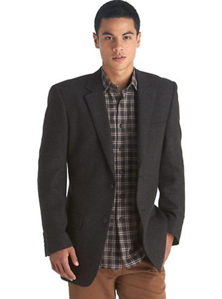 Mens 2 Button Gold Brown Check Sport Coat