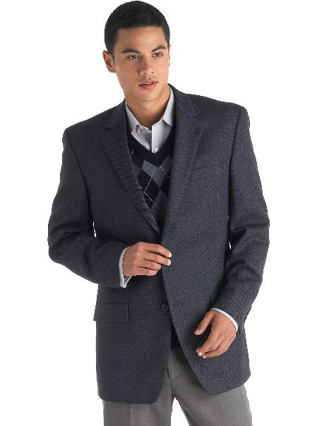 SKU#KR8300 Mens 2 Button Blue Birdseye Sport Coat $175