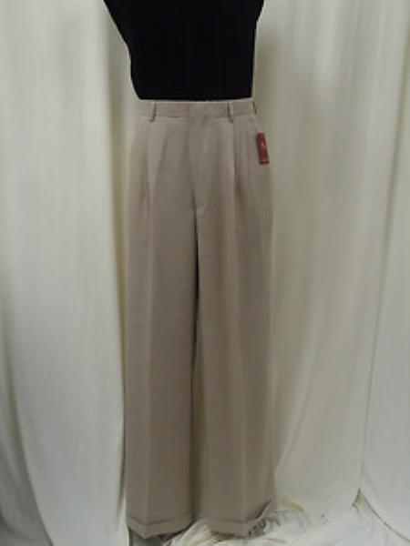 Men's Vintage Pants, Trousers, Jeans, Overalls Pleated Wide Leg Pants Woolfeel White Mens TrousersSlacks Cheap $75.00 AT vintagedancer.com