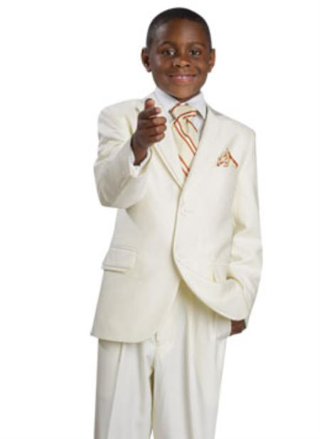 SKU#KR3498 Boys 2 Button Dress Suit Cream $139
