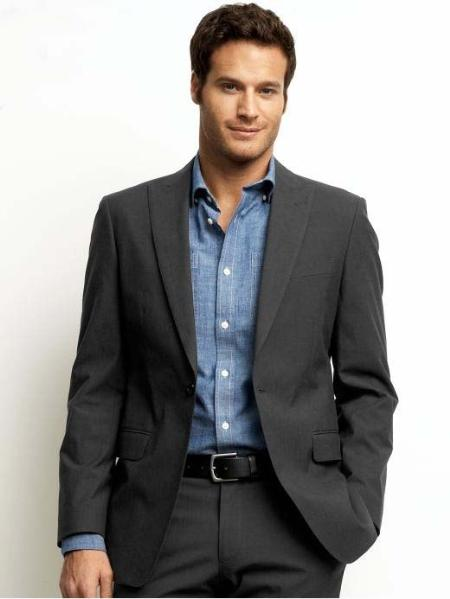 SKU#NT4038 Mens One button Classic Charcoal Suit $500
