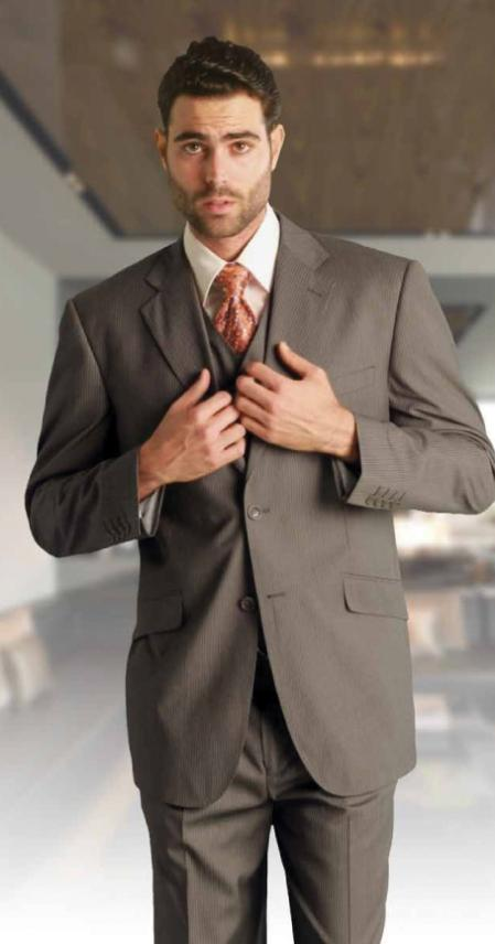 MensUSA.com Mens Classic 3 Piece Super 150s Pleated Pants Italian Fabric 2 Button Suit Taupe(Exchange only policy) at Sears.com