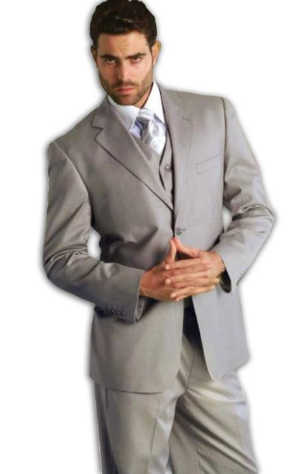 SKU#EH5623 Mens Classic 3 Piece Super 150s Pleated Pants Italian Fabric 2 Button Suit Grey $199