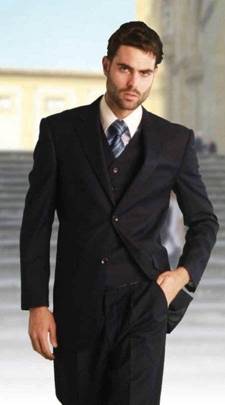 SKU#KG7860 Mens Classic 3 Piece Super 150s Pleated Pants Italian Fabric 2 Button Solid Navy Suit