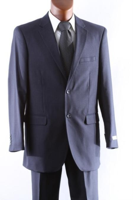 SKU#TH6308 Mens 2 Button 100% Wool Suit W Single Pleat Pants Navy
